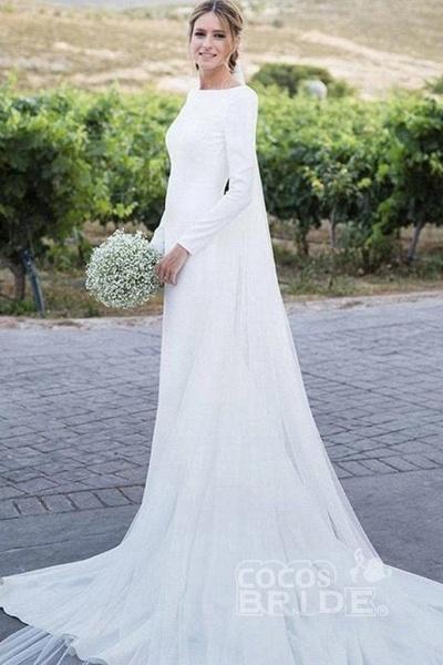 Modest Long Sleeve Sheath Country Wedding Dress_2