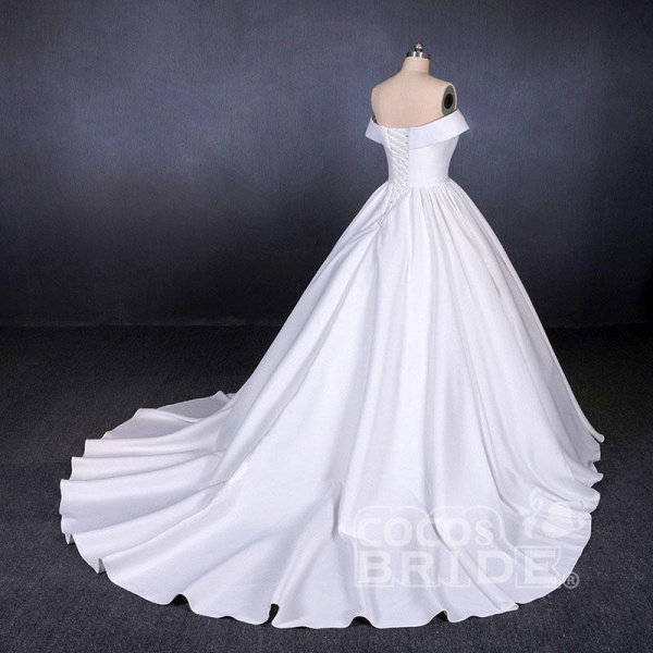 Puffy Off the Shoulder Satin Ball Gown Long Train Wedding Dress_5