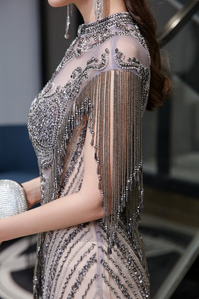 High Neck Cap sleeves Sparkle Beads Long Prom Dresses_15