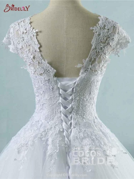 Lace White Cap Sleeves Ball Gown Tulle Wedding Dresses_4