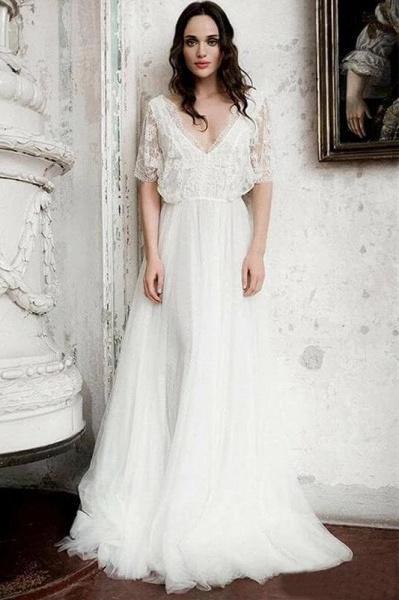 Boho Floor Length V Neck Long Rustic Gown Wedding Dress_1
