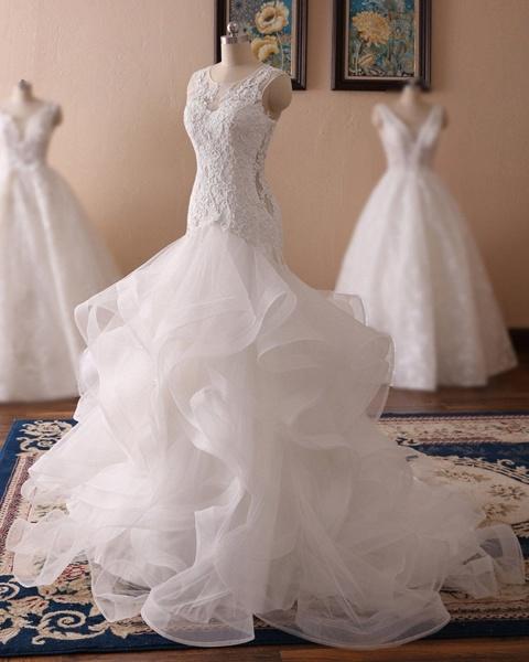 White Lace Ruffled Long Corset Bridal Mermaid Wedding Dress_2