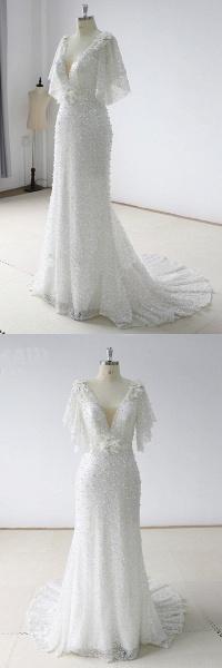 Stunning Sequins White Tulle Sweep Train Mermaid Short Sleeve Wedding Dress_4
