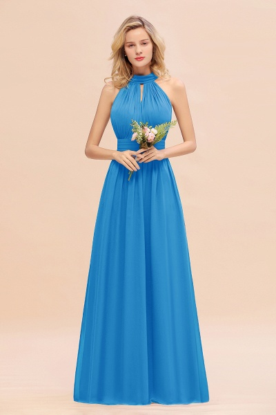 BM0758 Glamorous High-Neck Halter Bridesmaid Affordable Dresses with Ruffle_25