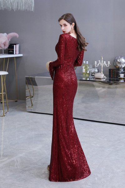 Gorgeous Sequins Long Sleeve V-Neck Mermaid Evening Gowns_26