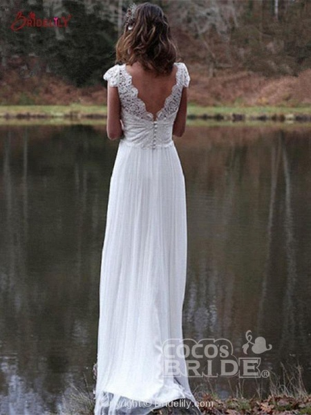 V-Neck Cap Sleeves Tulle Backless Boho Wedding Dresses_3