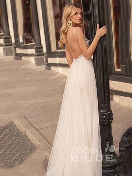 Elegant Spaghetti Strap Appliques Tulle Wedding Dresses_2