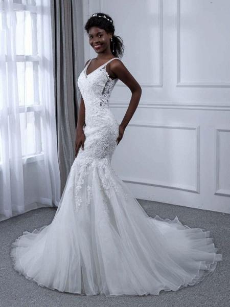 Elegant V-Neck Lace Tulle Mermaid Wedding Dresses_1