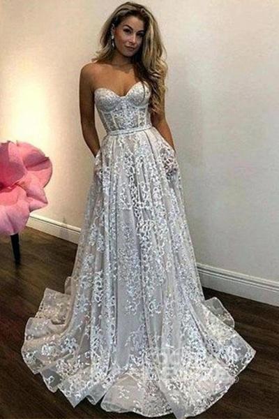Vintage Ivory Sweetheart Beautiful Cheap Lace Wedding Dress_2