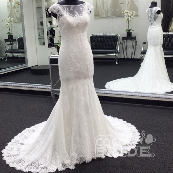 Illusion Cap Sleeve Lace Mermaid Wedding Dress_2