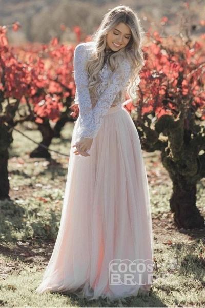 Two Piece Long Sleeves Lace Blush Pink Boho Beach Wedding Dress_2