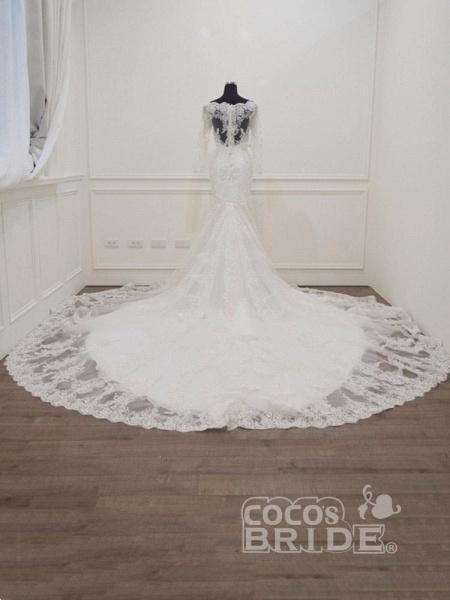 Modest Long Sleeves Sweep Train Lace Mermaid  Wedding Dresses_2