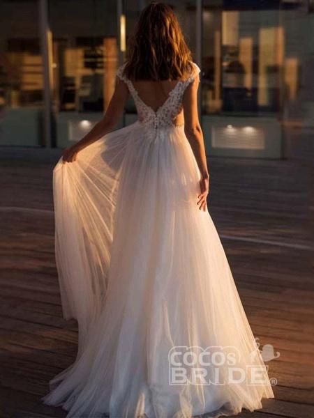 Gorgeous Cap Sleeves Appliques Tulle Wedding Dresses_2