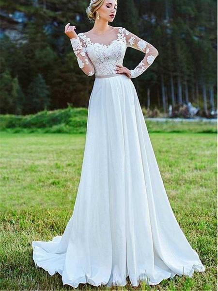 Modest Bateau Long Sleeves Lace Ruffles Wedding Dresses_1