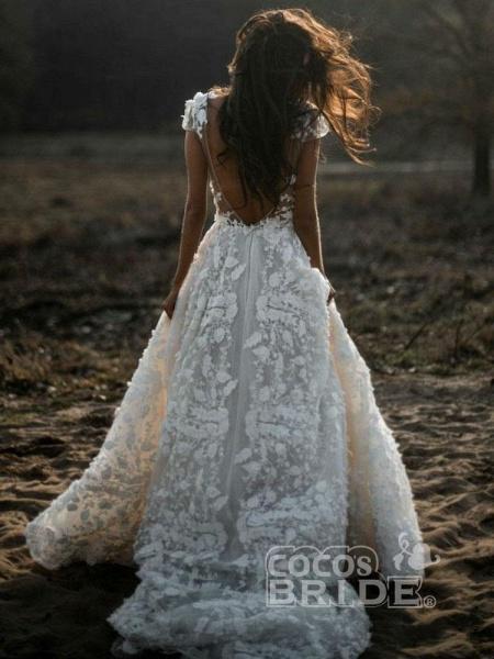 Deep V Neck Short Sleeve Backless A Line Wedding Dresses_2