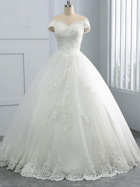 Off-the-Shoulder Lace Sequins Ball Gown Wedding Dresses_1