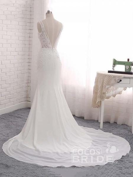Modest V-Neck Lace Mermaid Wedding Dresses_3