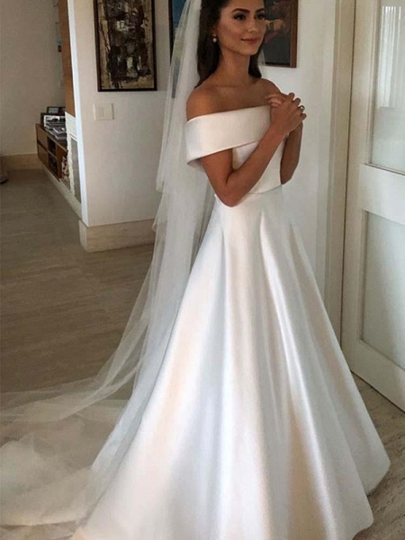 Amazing Covered Button A-line Satin Wedding Dresses_1