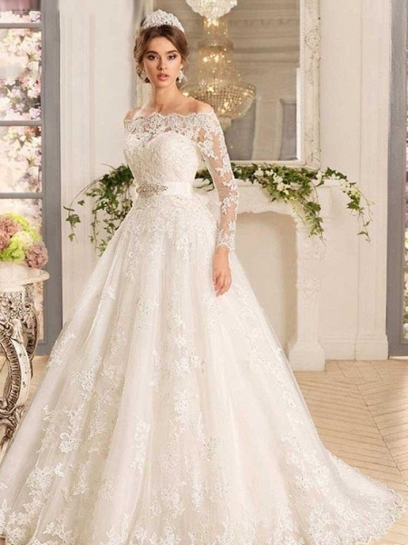 Off-the-Shoulder Tulle Ruffles Wedding Dresses_1
