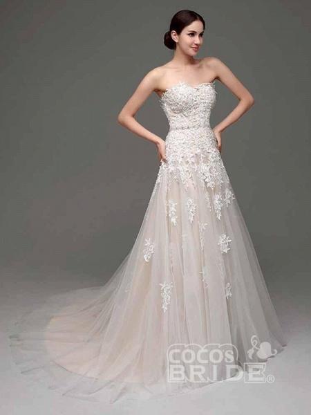 Elegant Sweetheart Beaded Lace Tulle Wedding Dresses_3