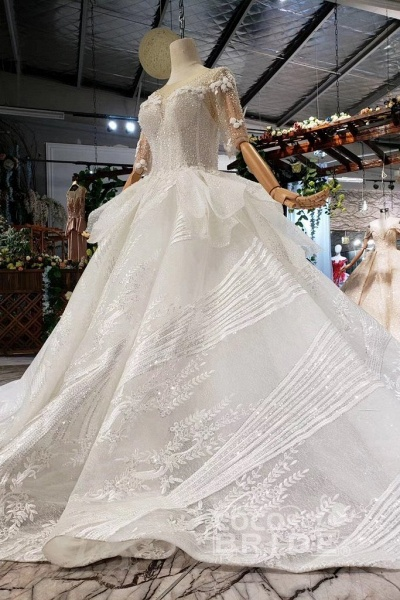 Ball Gown Half Sleeves Lace with Sequins Sheer Neck Long Wedding Dress_4