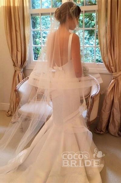 Newest Mermaid V-neck Sleeveless Simple Backless Wedding Dress_2