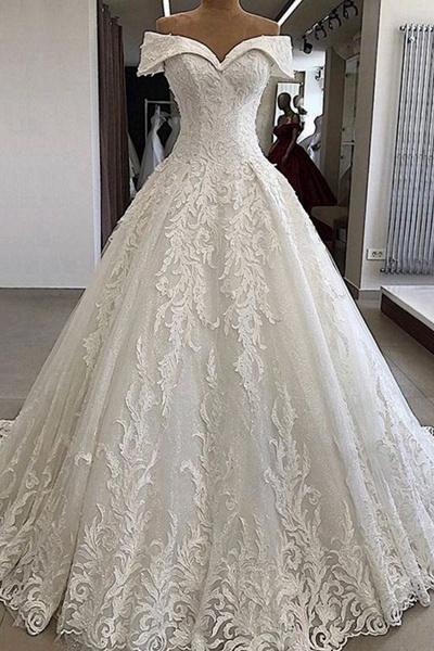 Luxury White Lace Off Shoulder Long Applique Wedding Dress_1