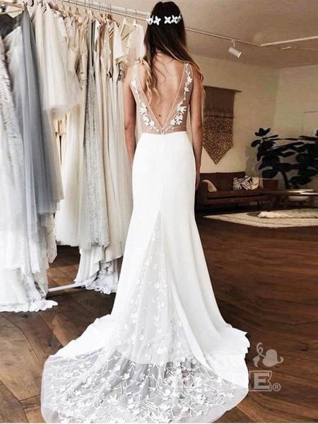 Gorgeous V-neck Lace Backless Mermaid  Wedding Dresses_3