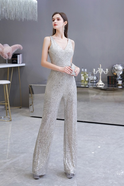 Sexy Shining V-neck Sleeveless Prom Jumpsuit with Silver Sequins_9