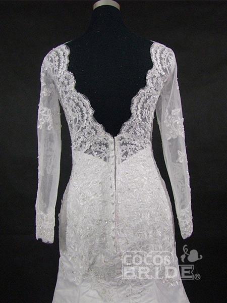 V-Neck Long Sleeves Lace Mermaid Wedding Dresses_6
