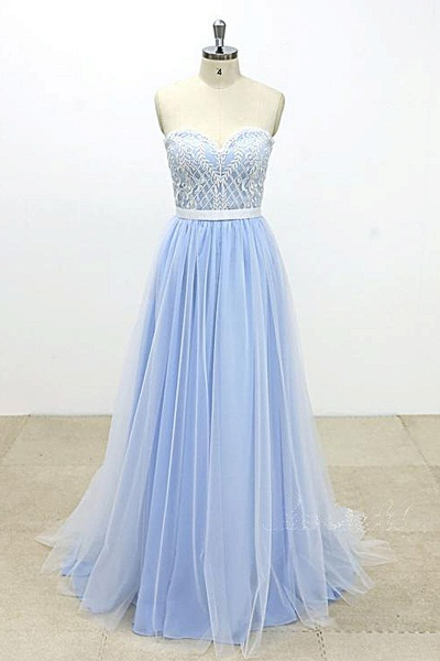 Aqua Blue And Ivory Tulle Strapless Long Lace Wedding Dress_1