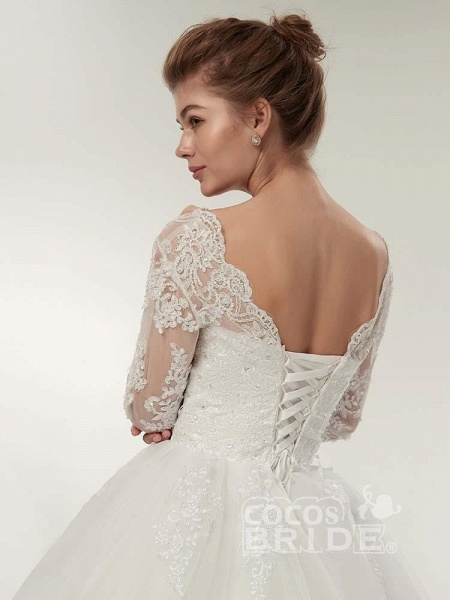 Long Sleeves V-Neck Ball Gown Lace Wedding Dresses_6