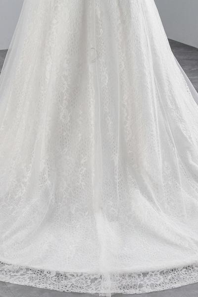 Glamorous Long Mermaid Jewel Tulle Sleeveless Wedding Dress with Appliques Lace_7