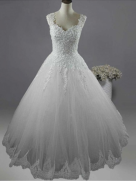 Pearls A-Line Tulle Wedding Dresses_1