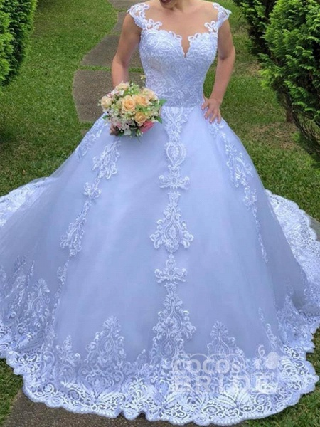 Exquisite Scoop Short Sleeve Zipper Lace Wedding Dresses_6