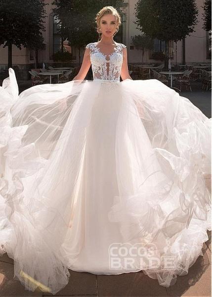 Romantic V Neck Lace Appliques Covered Button A-Line Wedding Dresses_4