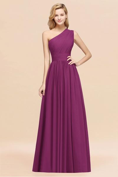 Elegant A-Line Burgundy Chiffon One-Shoulder Sleeveless Ruffles Floor-Length Bridesmaid Dresses_42