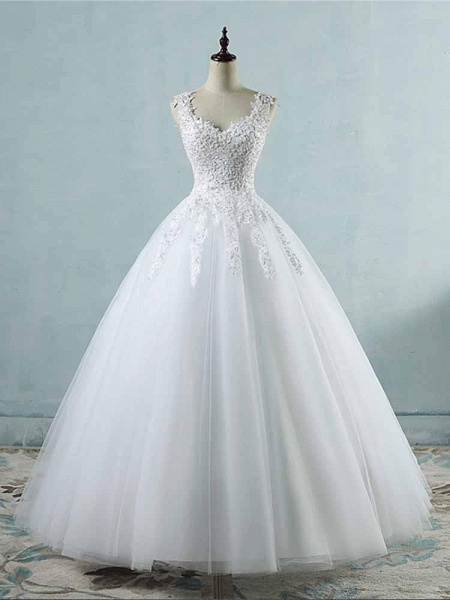 Spaghetti Straps Lace-Up Ball Gown Wedding Dresses_1