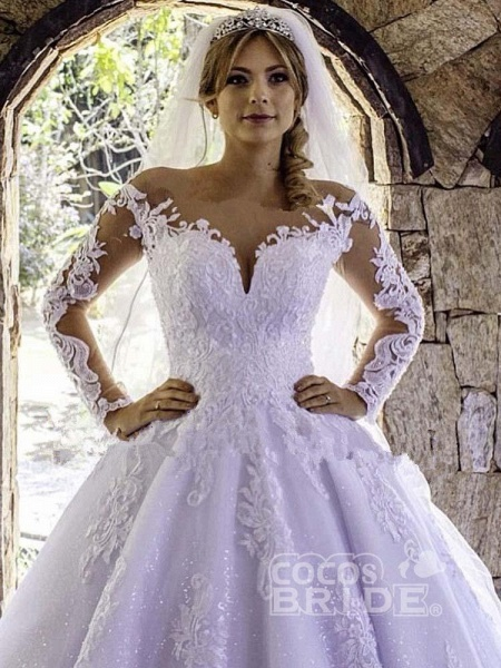 Luxury Long Sleeves Lace Ball Gown Wedding Dresses_3