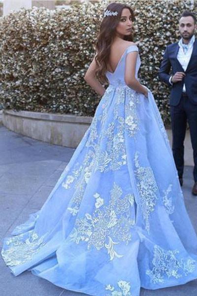 Light Blue Ball Gowns Lace Appliques Off Shoulder Big Wedding Dress_1