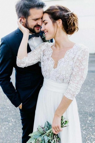Floor Length Chiffon Beach Lace Backless Wedding Dress_1