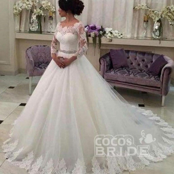 Long Sleeves Ball Gowns Lace CustomizedTulle Wedding Dress_2