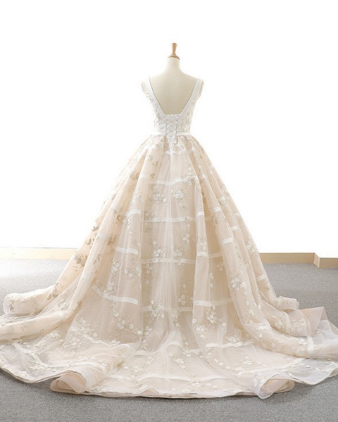 V Neck Long A-Line Ball Gown Wedding Dress_3
