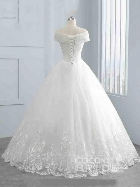 Gorgeous Cap Sleeves Sequins Lace-Up Ball Gown Wedding Dresses_2