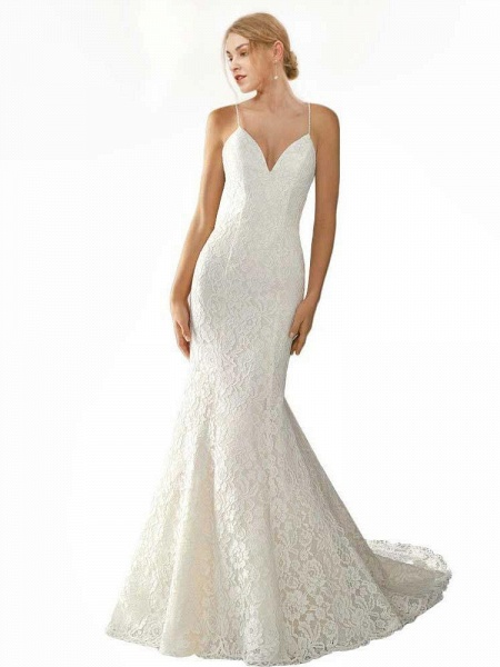 Elegant Spaghetti Strap Sleeveless Lace Mermaid Wedding Dresses_1