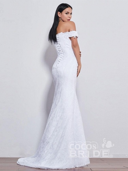 Off-the-shoulder Sweetheart Beaded Mermaid Wedding Dresses_3