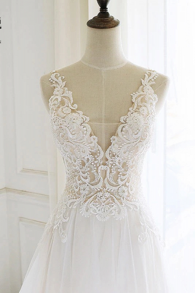 White Tulle Lace Custom Size Long Wedding Dress_3