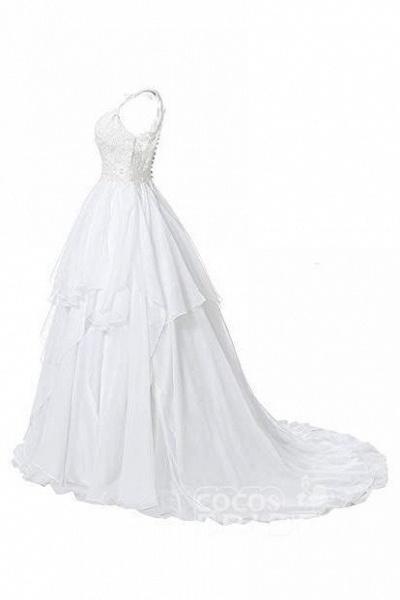 Straps V Neck Illusion Chiffon Beach Gown Cheap Wedding Dress_5