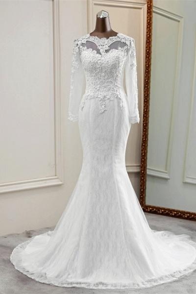 Elegant Mermaid Tulle Jewel Long Sleeves Wedding Dress