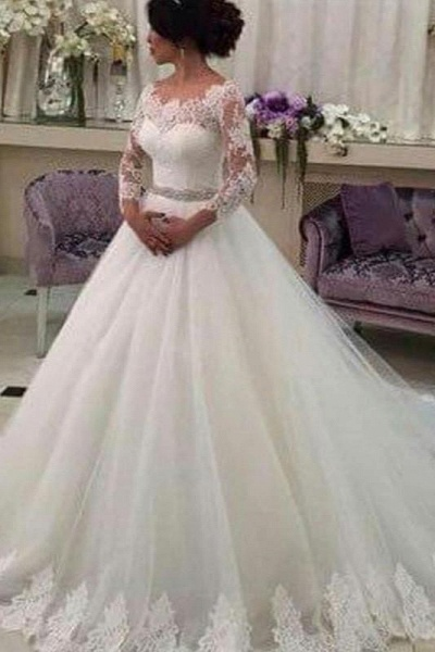 Long Sleeves Ball Gowns Lace CustomizedTulle Wedding Dress_1